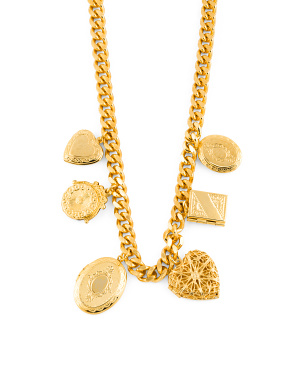 Made In Usa 24k Gold Plated Royal Charm Locket Necklace