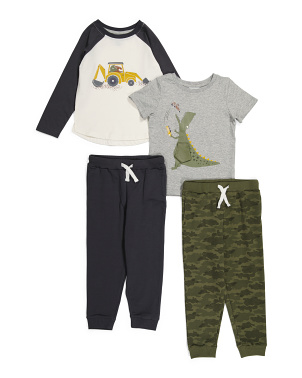 Toddler Boys 4pc Dino Mix & Match Pant Set
