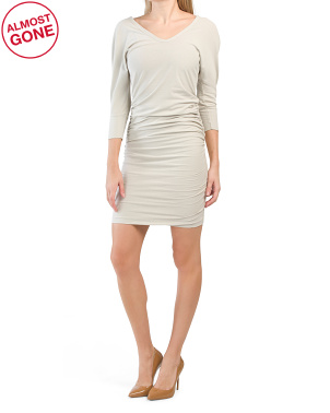 Made In Usa Three-quarter Sleeve Deep V Dress