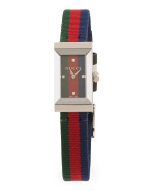 Women's Swiss Made G Frame Logo Nylon Strap Watch