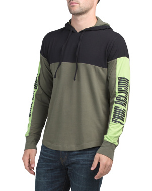 Long Sleeve Paneled Hooded Tee