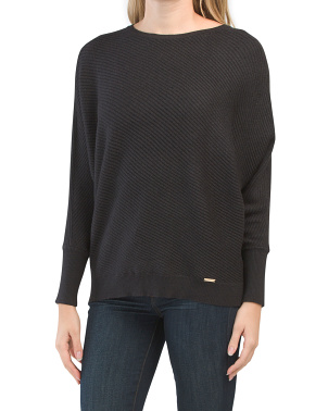 Dolman Sleeve Angle Rib Sweater