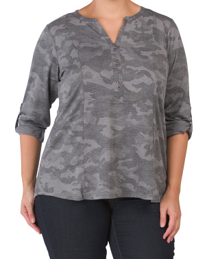 Plus Button Front Camo Top With Roll Tab Sleeve