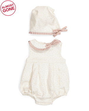 Newborn Girls Asymmetrical Bubble Romper With Bonnet