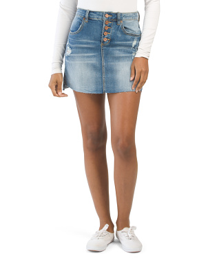 Juniors Button Fly Washed Denim Skirt