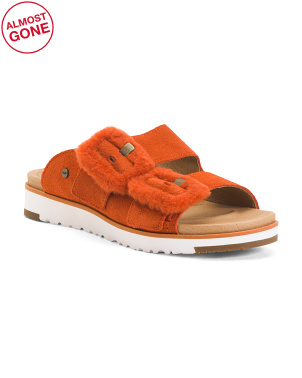 Suede Double Buckle Sandals