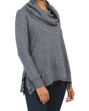 Honeycomb Cowl Ruffle Knit Top