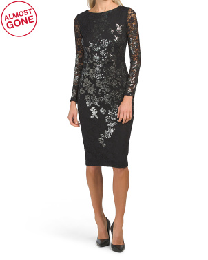 Long Sleeve Sequin Embellished Lace Dress