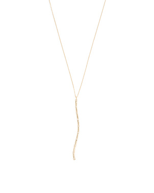 14k Gold And Diamond Curved Long Bar Y Necklace