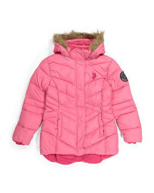 Big Girls Faux Fur Long Puffer Jacket