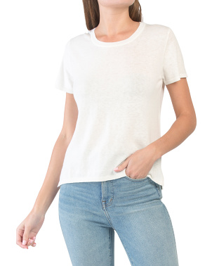 Cotton Linen Blend Crew Neck Tee