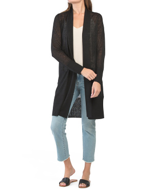 Long Open Linen Cardigan