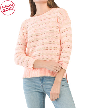 Neon Striped Crew Neck Top