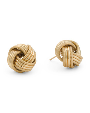 Made In Italy 14k Gold Love Knot 13.75mm Stud Earrings