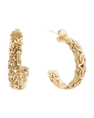 Made In Italy 18k Gold Byzantine 26mm Hoop Earrings