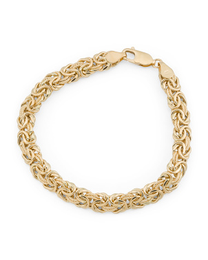 Made In Italy 18k Gold Byzantine Bracelet