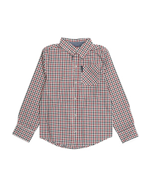 Big Boy Plaid Long Sleeve Woven Shirt
