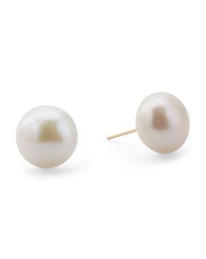 Made In Usa 14k Gold 11mm Pearl Stud Earrings