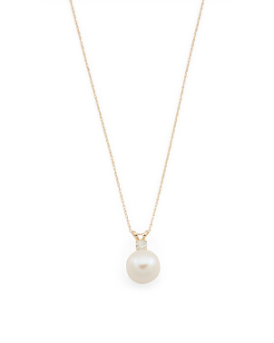 Made In Usa 14k Gold Diamond And Pearl Necklace