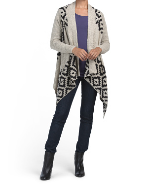 Aztec Print Waterfall Cardigan