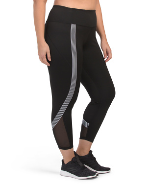 Plus Wrap Around Track Stripe Ankle Leggings