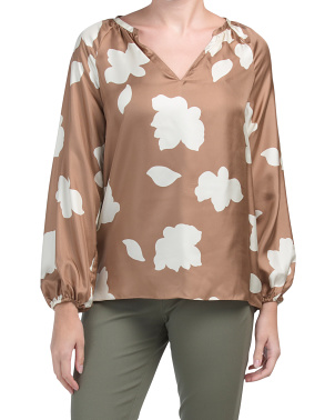 Silk Gathered Top Petal Blouse