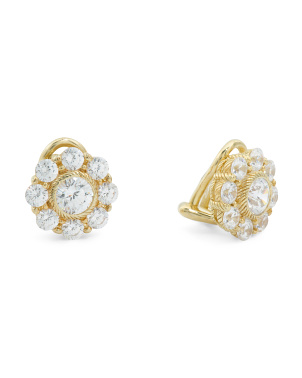14k Gold Plated Sterling Silver Cz Flower Stud Earrings