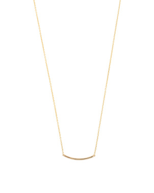 Made In India 14k Gold Polished Bar Necklace