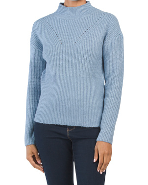 Juniors Mossy Mixed Rib Mock Neck Sweater