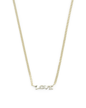 14k Gold Plated Sterling Silver Love Curb Chain Necklace