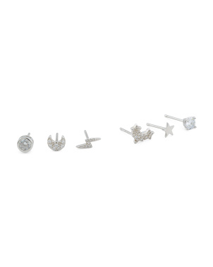 Sterling Silver 6pc Earring Set