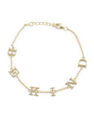14k Gold Plated Sterling Silver Be Kind Chain Bracelet