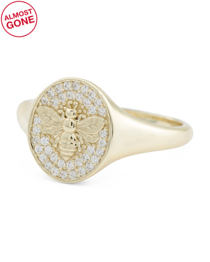 14k Gold Plated Sterling Silver Cz Bee Signet Ring