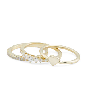 14k Gold Plated Sterling Silver Cz Heart Trio Ring Set