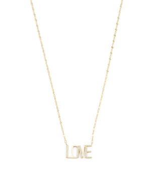 14k Gold Plated Sterling Silver Cz Love Necklace