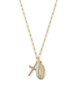 14k Gold Plated Sterling Silver Cz Religious Cross Necklace
