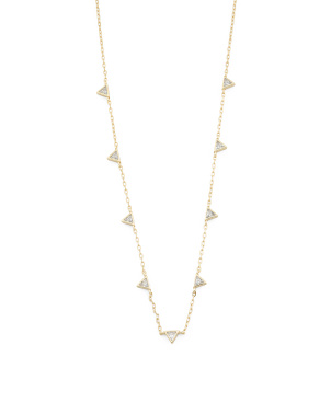 14k Gold Plated Sterling Silver Cz Triangle Necklace