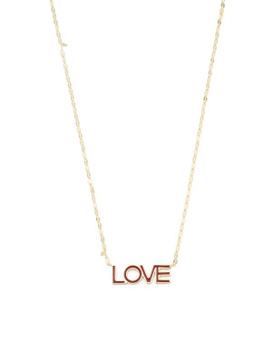 14k Gold Plated Sterling Silver Enamel Love Necklace