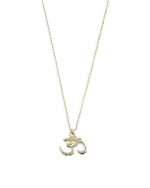 14k Gold Plated Sterling Silver Ohm Charm Necklace