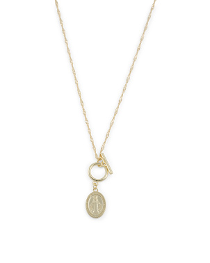 14k Gold Plated Sterling Silver Religious Toggle Necklace