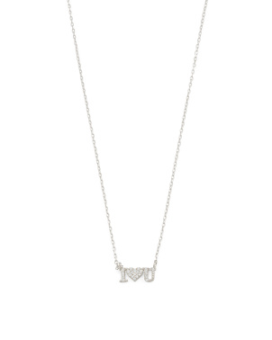 Sterling Silver Cz I Heart U Cable Chain Necklace