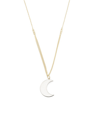 Two Tone Sterling Silver Moon Charm Chain Necklace