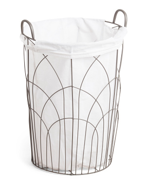 Small Embroidered Round Metal Hamper
