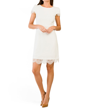 Scuba Midi Dress With Lace