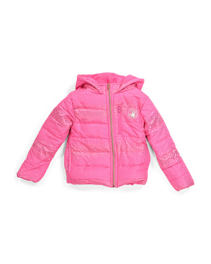 Little Girls Foil Dot Puffer Jacket