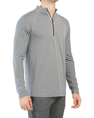 Long Sleeve Multi Grain Quarter Zip Top