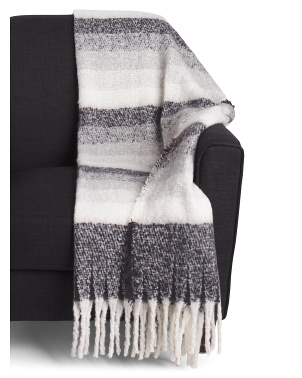 Stripe Throw With Fringe