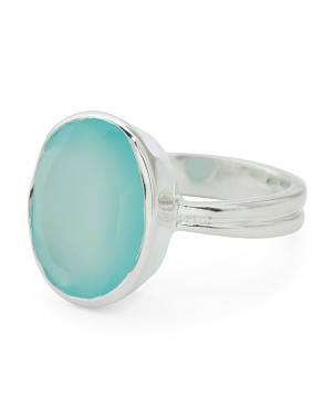 Made In India Sterling Silver Aqua Chalcedony Oval Ring
