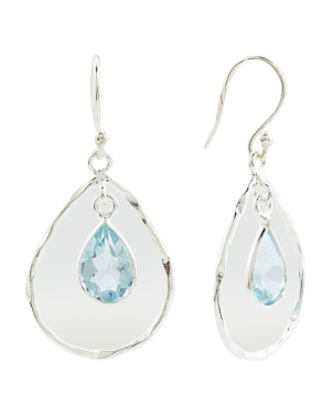 Made In India Sterling Silver Blue Topaz Teardrop Earrings