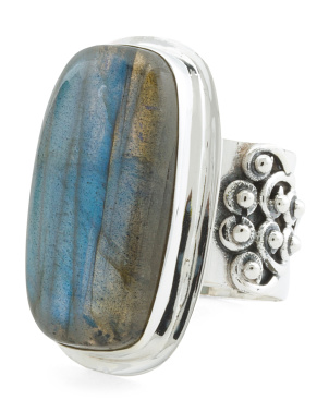 Made In India Sterling Silver Labradorite Oblong Ring